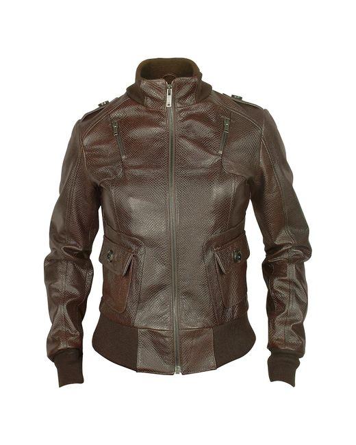 FORZIERI | Women's Dark Brown Lizard Stamped Genuine Leather Jacket | Lyst