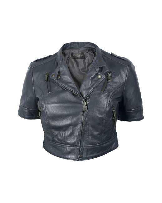 FORZIERI | Blue Motorcycle Cropped Leather Jacket | Lyst