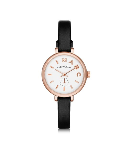 Marc By Marc Jacobs - Black Sally 28 Mm Stainless Steel And Leather Strap Women's Watch - Lyst