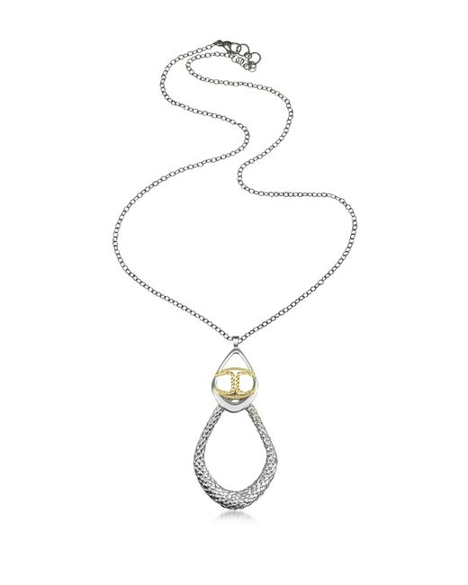 Just Cavalli | Metallic Icon Silver Pvd Drop Chain Necklace | Lyst