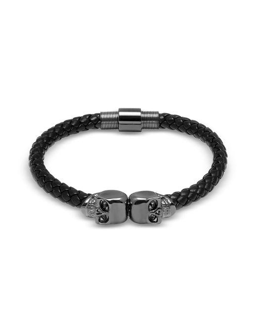 Northskull | Black Nappa Leather W/ Gunmetal Twin Skull Bracelet | Lyst
