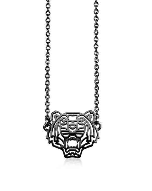KENZO   Metallic Ruthenium Plated Sterling Silver Cut Out Tiger Necklace W/crystal   Lyst