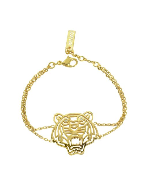 KENZO | Metallic Gold Plated Tiger Bracelet | Lyst