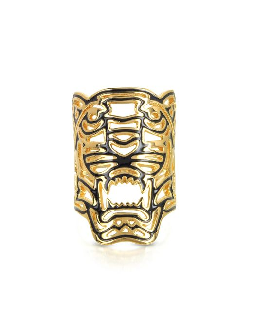 KENZO | Metallic Gold Plated Maxi Tiger Ring | Lyst