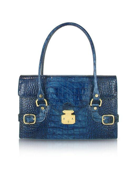 L.A.P.A. - Indigo Blue Croco Stamped Italian Leather Shoulder Bag - Lyst