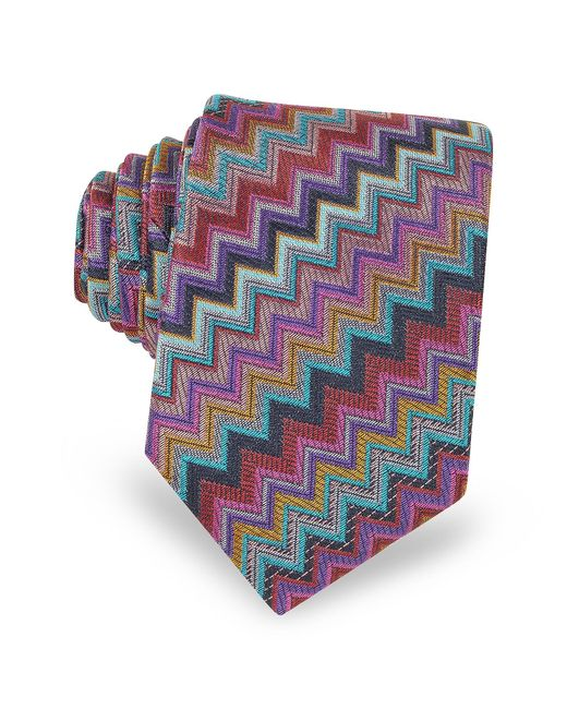 Missoni | Purple Diagonal Zig Zag Woven Silk Men's Narrow Tie for Men | Lyst
