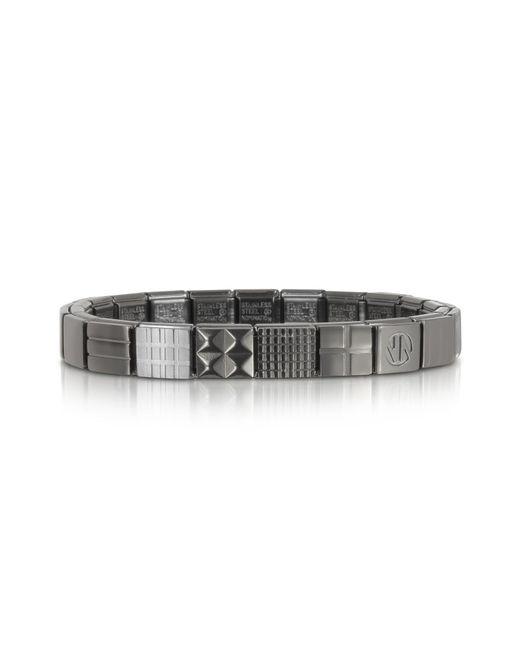 Nomination | Metallic Steel Ikons Piramid Studs Stripes And Mesh Brushed Stainless Steel Bracelet for Men | Lyst