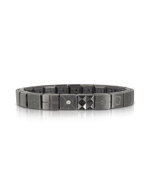 Nomination | Metallic Steel Ikons Brushed Stainless Steel Bracelet W/white Cubic Zirconia for Men | Lyst