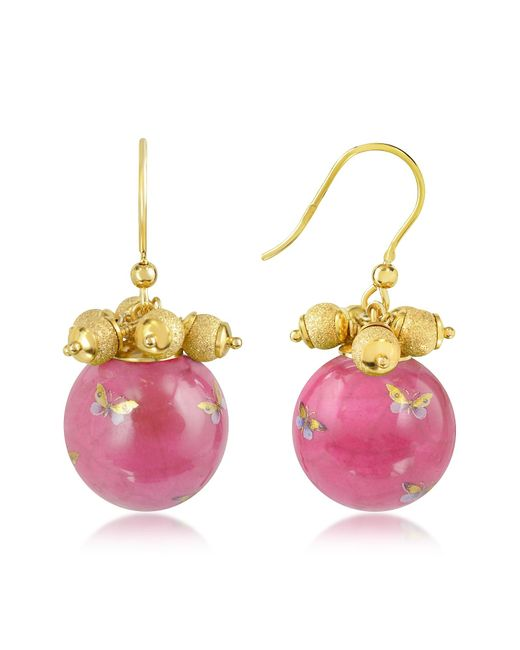 Naoto | Pink Alchimia - Round Gold Foil Drop Earrings | Lyst