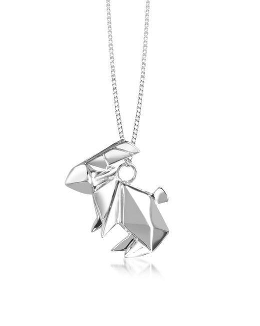 Origami Jewellery | Metallic Sterling Silver Rabbit Pendant Long Necklace | Lyst