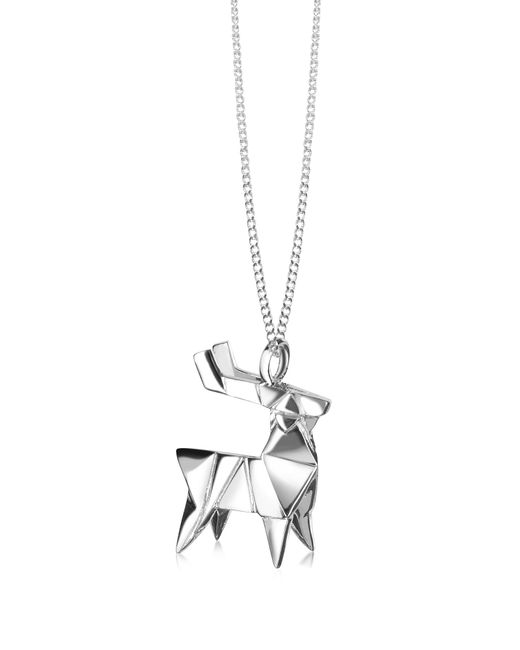 Origami Jewellery | Metallic Sterling Silver Deer Pendant Necklace | Lyst