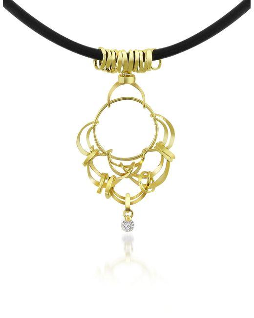 Orlando Orlandini | Metallic Scintille - Diamond Drop 18k Yellow Gold Pendant Necklace | Lyst