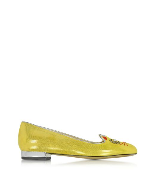Charlotte Olympia | Yellow 'mechanical Kitty' Slippers | Lyst