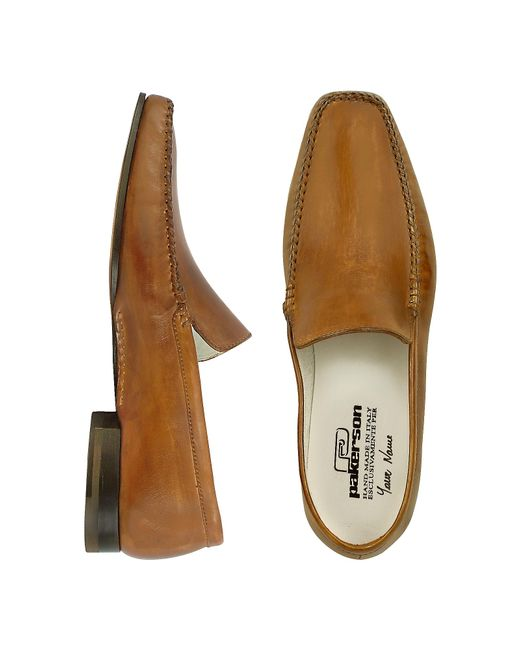 pakerson brown italian handmade leather loafer shoes in