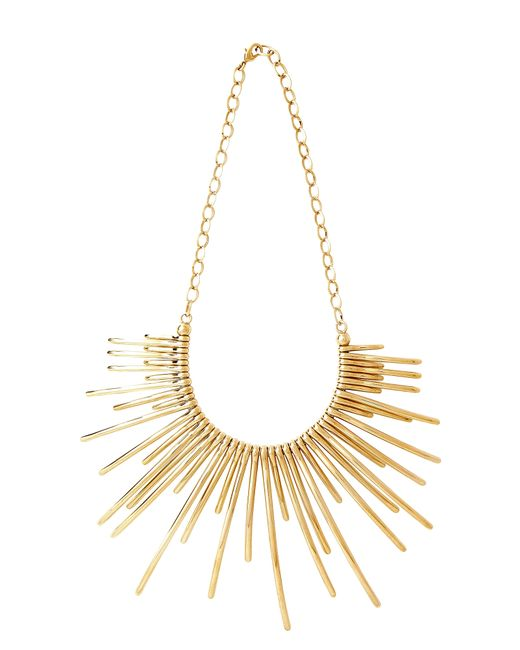 Pluma - Metallic Sunburst Golden Brass Necklace - Lyst