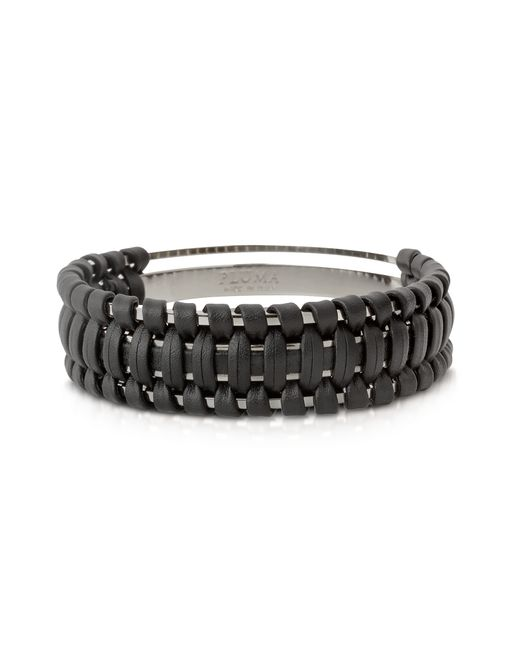 Pluma | Black Brass And Woven Leather Small Cuff In Fumoso | Lyst