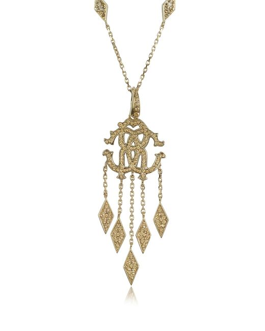 Roberto Cavalli | Metallic Rc Luxe Metal Pendant Necklace W/crystals | Lyst