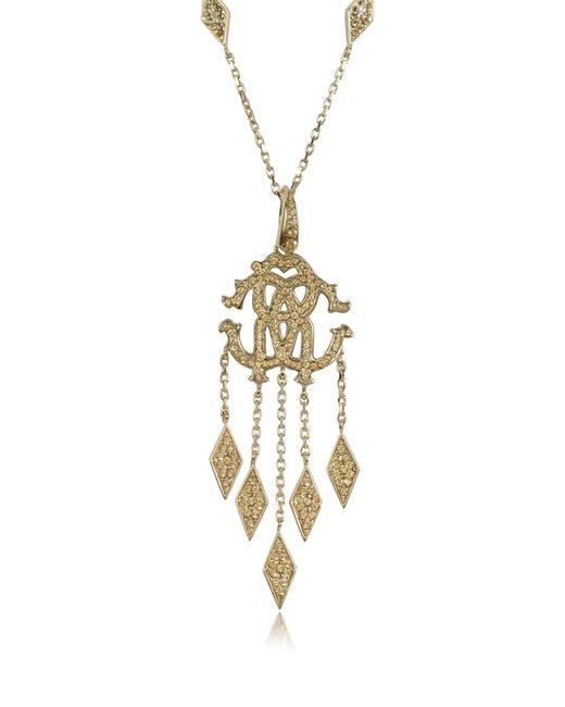 Roberto Cavalli | Metallic Rc Luxe Metal Pendant Necklace W/crystals | Lyst
