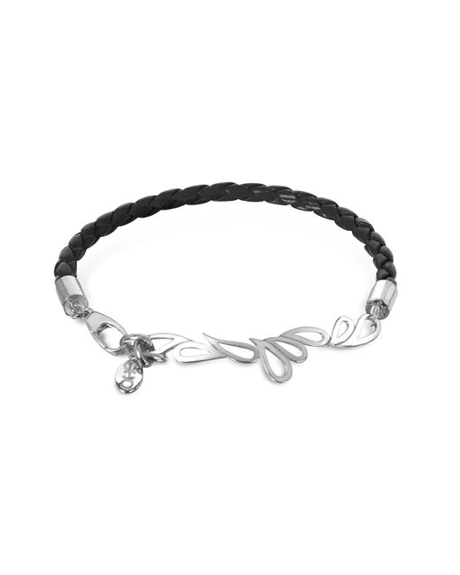 Sho London | Black Mari Fiendship Leather And Sterling Silver Bangle | Lyst
