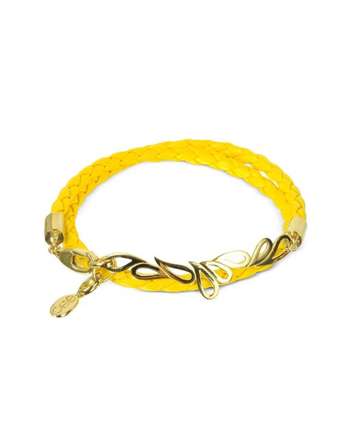 Sho London | Yellow Mari Fiendship Leather And Silver Vermeil Bangle | Lyst