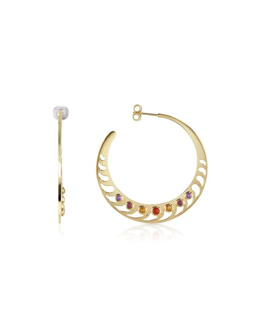 Sho London | Metallic Mari Rush Silver Vermeil Hoop Earrings | Lyst