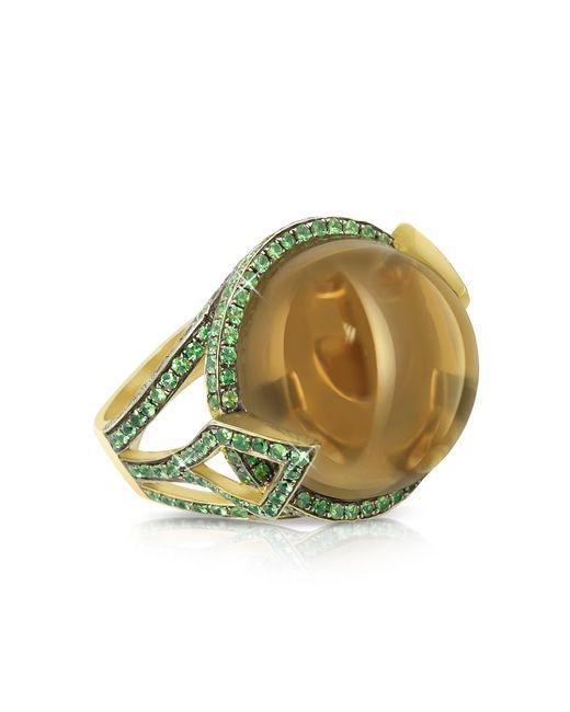 Sho London | Brown 18k Gold V-seal Smoky Quartz Feodora Ring | Lyst