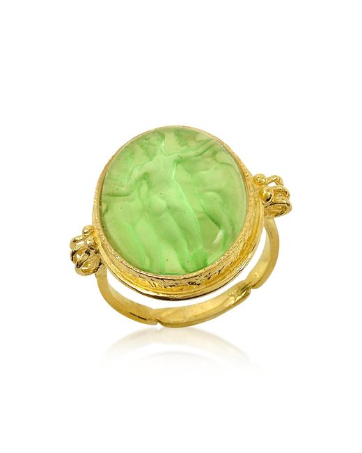 Tagliamonte | Three Graces - 18k Gold Green Mother Of Pearl Cameo Ring | Lyst