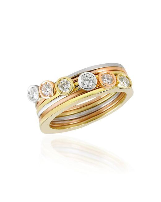 Torrini - Metallic Bezel-set Diamond Three-tone 18k Gold Stackable Ring - Set Of Six - Lyst
