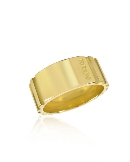 Torrini   Metallic Stripes - 18k Yellow Gold Tall Band Ring for Men   Lyst
