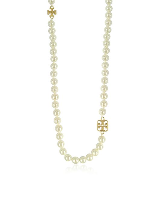 Tory Burch | White Evie Long Necklace | Lyst