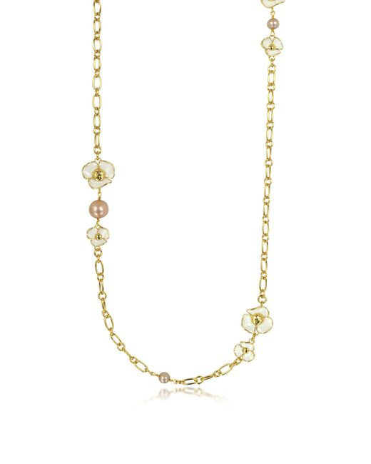 Tory Burch | White Fleur Rosary Long Necklace | Lyst