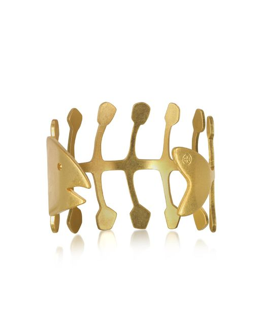 Tory Burch | Metallic Fish Bone Vintage Goldtone Brass Cuff Bracelet | Lyst