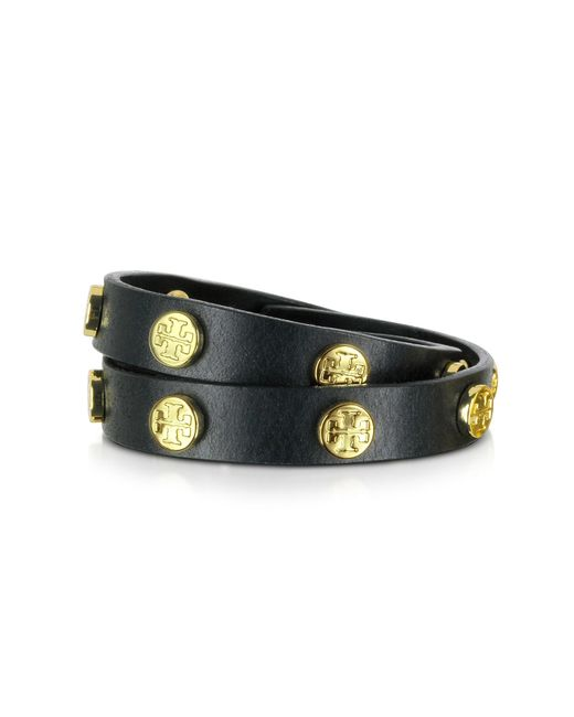 Tory Burch | Black Double Wrap Stud Logo Bracelet | Lyst