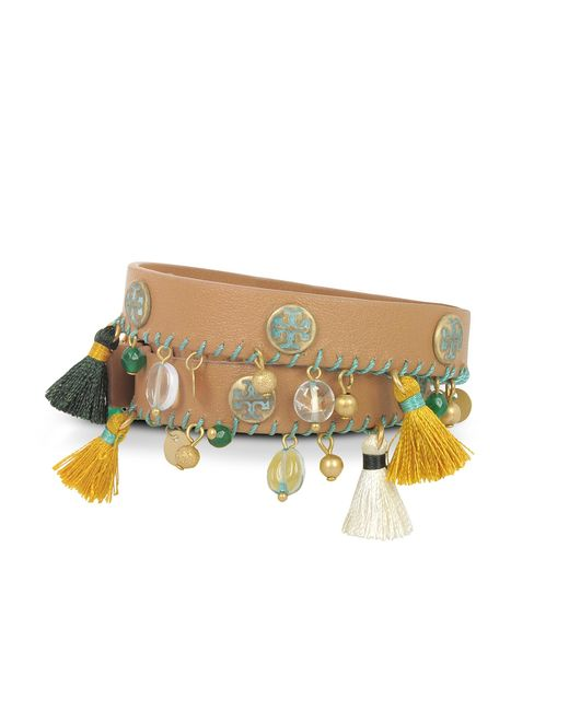Tory Burch | Brown Aged Vachetta Leather And Vintage Gold Brass Tassel Double Wrap Bracelet | Lyst