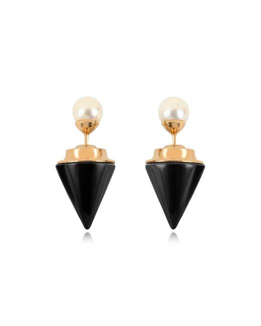 Vita Fede   Metallic Double Titan Stone Pearl Earrings W/akoya Pearls   Lyst