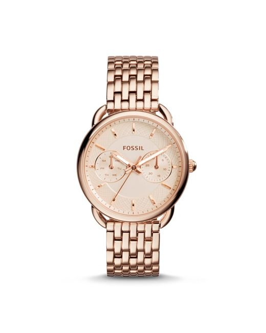 Fossil Pink Women's Tailor Rose Gold-tone Stainless Steel Bracelet Watch 35mm Es3713