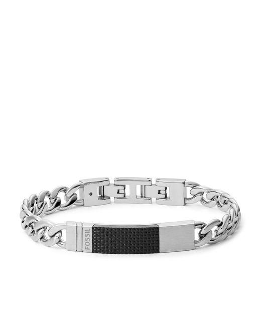 Bracelet avec plaque en acier argenté -Argenté Fossil pour homme en coloris Metallic