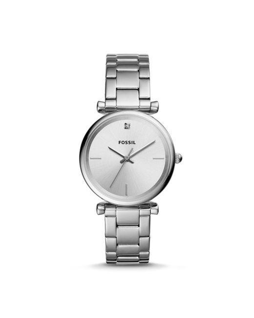 Fossil Metallic The Carbon Series Three-hand Stainless Steel Watch