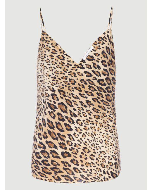 f12274840dd1e8 ... FRAME - Black V-neck Cheetah-print Silk Cami Top - Lyst