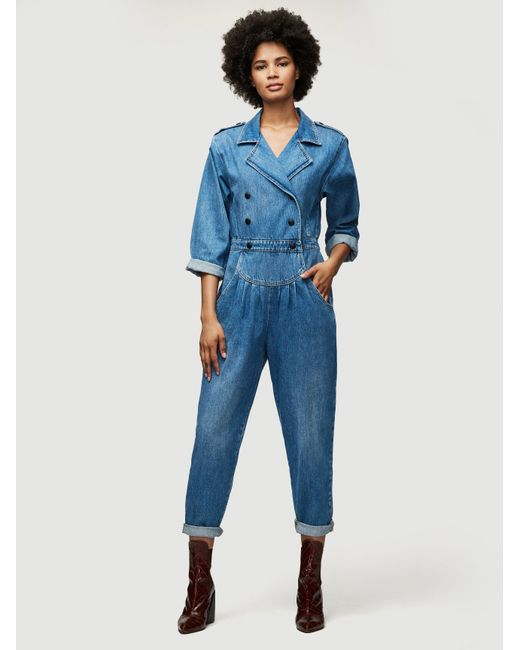 FRAME Blue Military Band Pleat Front Jumpsuit