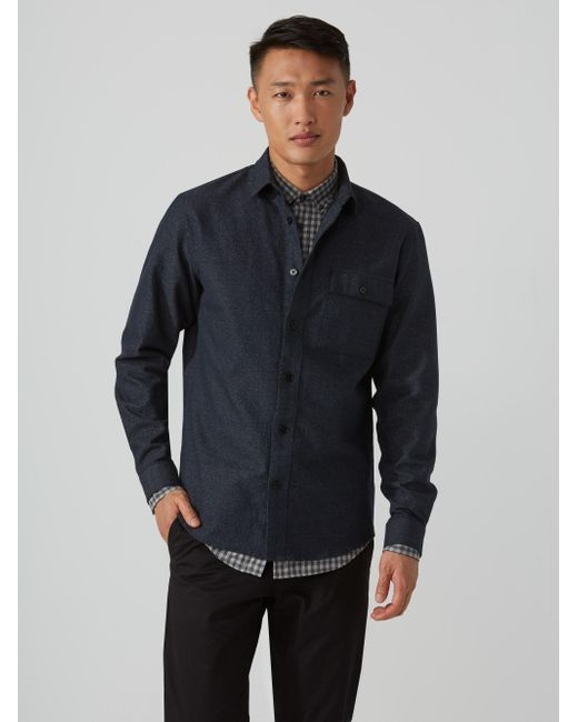 Frank And Oak | Blue Stretch-cotton Overshirt In Flecked Navy for Men | Lyst