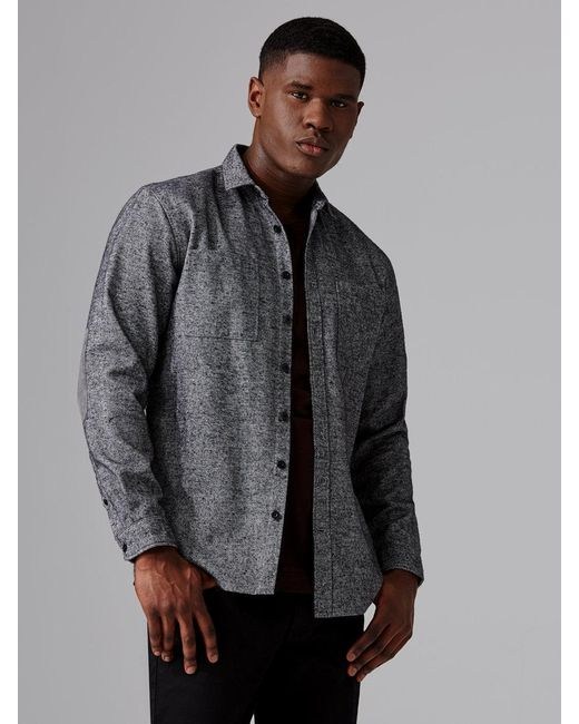 Frank oak heavy twill flannel shirt in grey in gray for for Frank and oak shirt