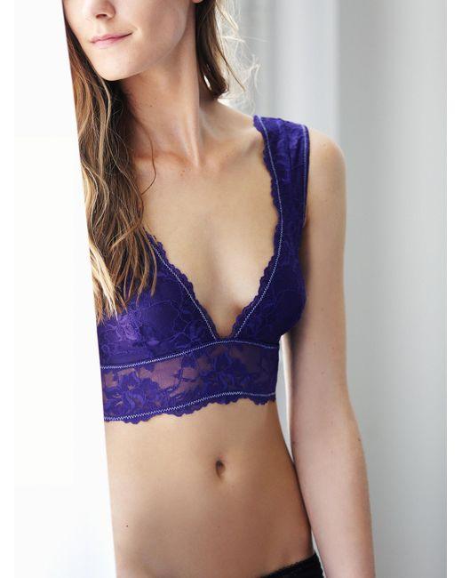 Free People   Purple Galloon Lace Deep V Bra   Lyst