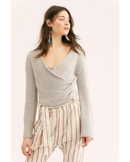 d3ad537c8 Lyst - Free People Sensual Wrap Sweater in Gray