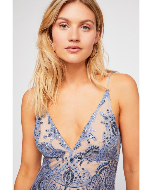 Free People - Blue Night Shimmers Mini Dress - Lyst