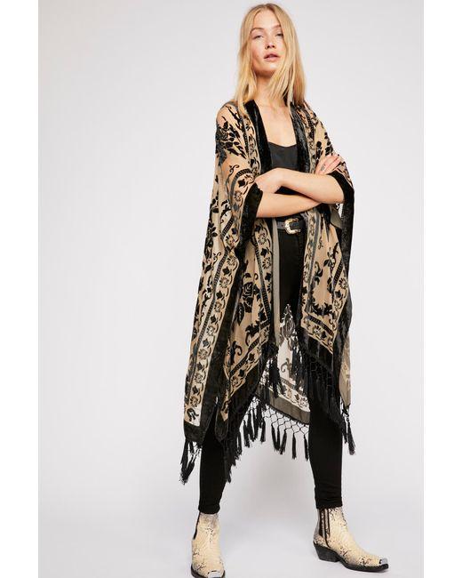 8b22d6fe3 Free People - Black Nightbird Burnout Kimono - Lyst ...