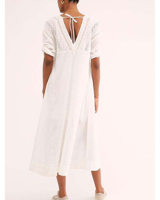 Free People White Daybreak Lace Midi Dress
