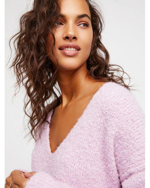 Free People | Purple Lofty V-neck Sweater | Lyst