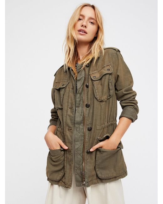 Free People - Green Not Your Brother's Surplus Jacket - Lyst