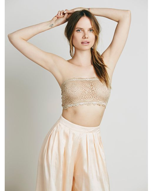 Free People - Natural Seamless And Lace Reversible Bandeau - Lyst
